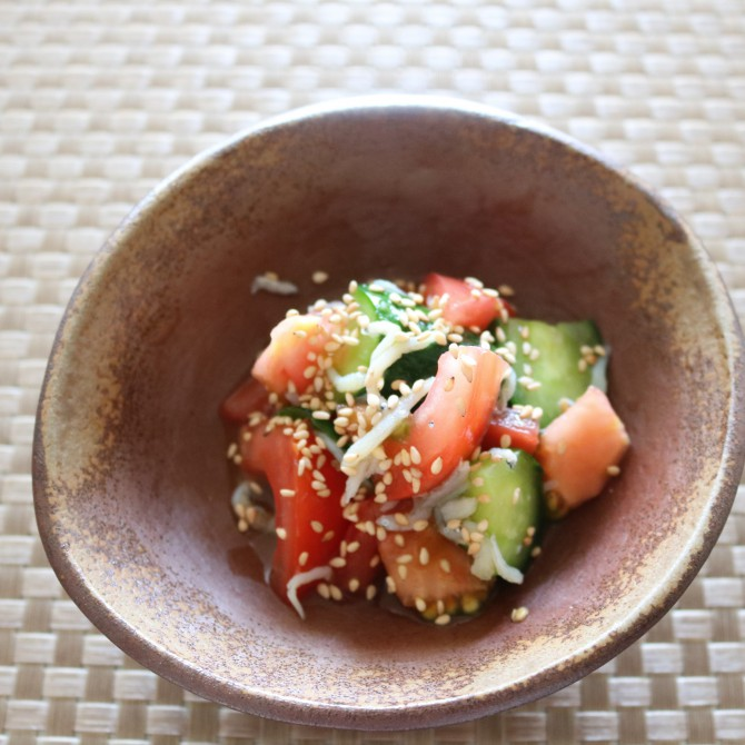 トマトときゅうりの和風サラダ⑤